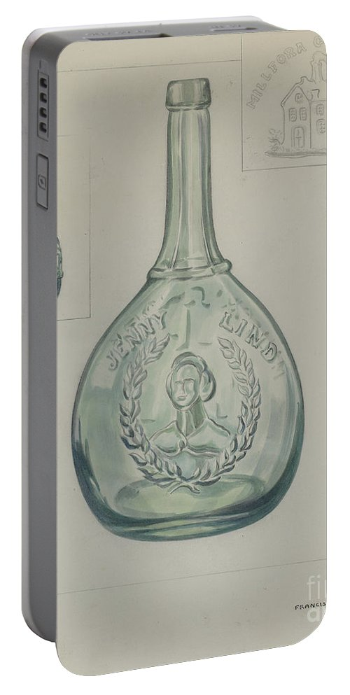 Portable Battery Charger featuring the drawing Bottle by Francis Law Durand