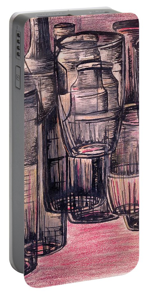 Picture Portable Battery Charger featuring the drawing Bottles In Red by Medea Ioseliani