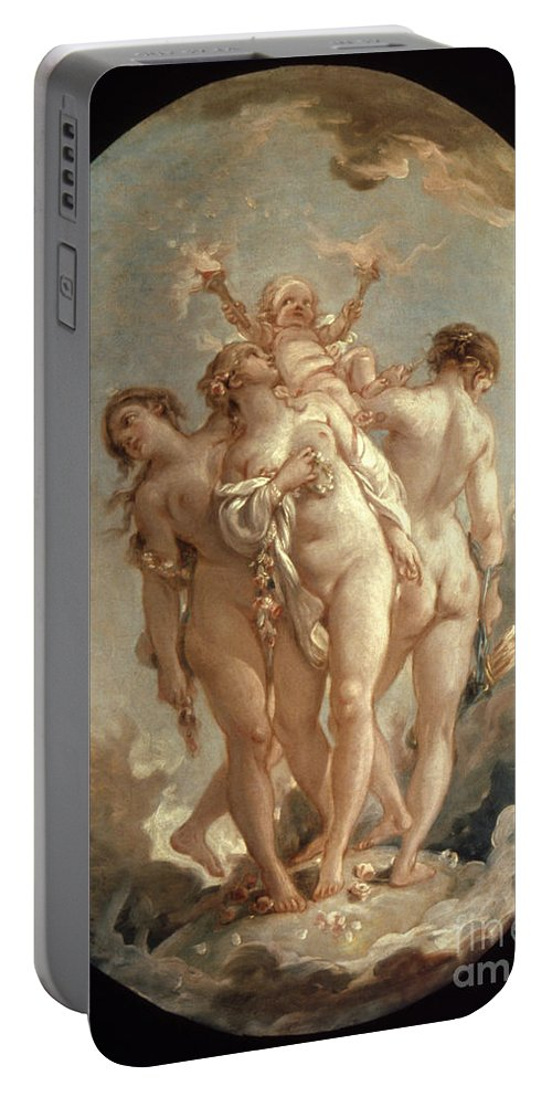 18th Century Portable Battery Charger featuring the painting Boucher: Three Graces, 18 C by Granger