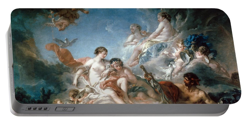 1757 Portable Battery Charger featuring the painting Boucher: Vulcan by Granger