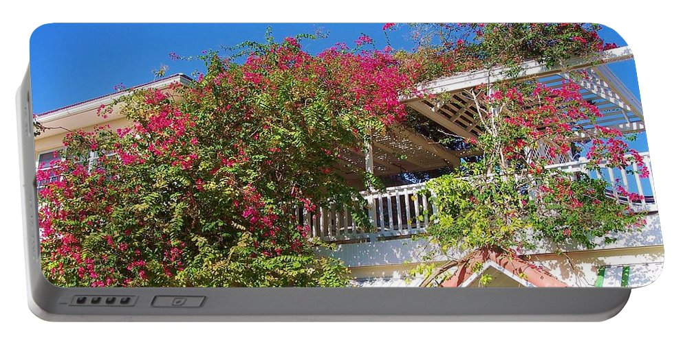 Flowers Portable Battery Charger featuring the photograph Bougainvillea Villa by Debbi Granruth