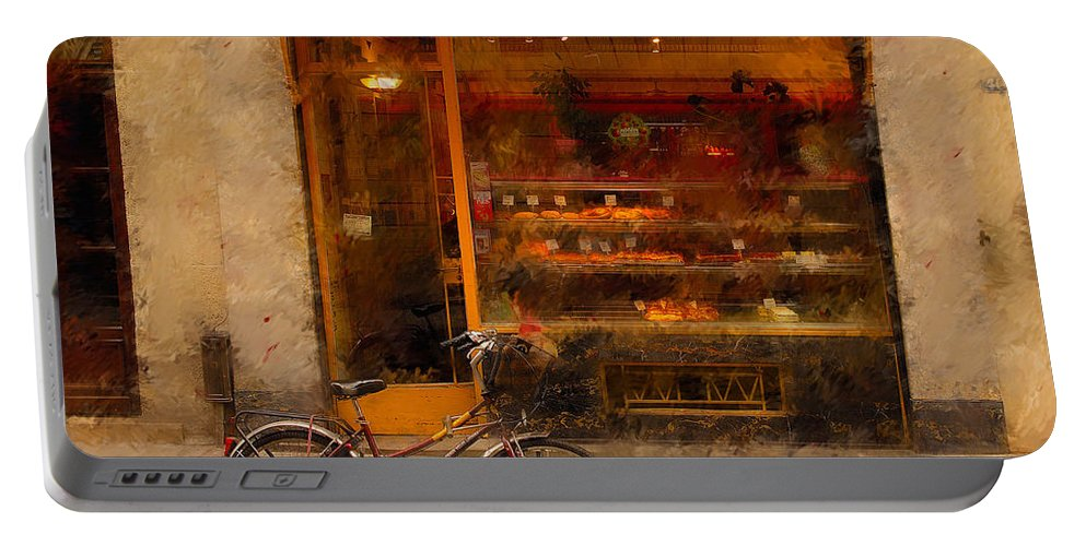 Paris France Portable Battery Charger featuring the photograph Boulangerie And Bike 2 by Mick Burkey
