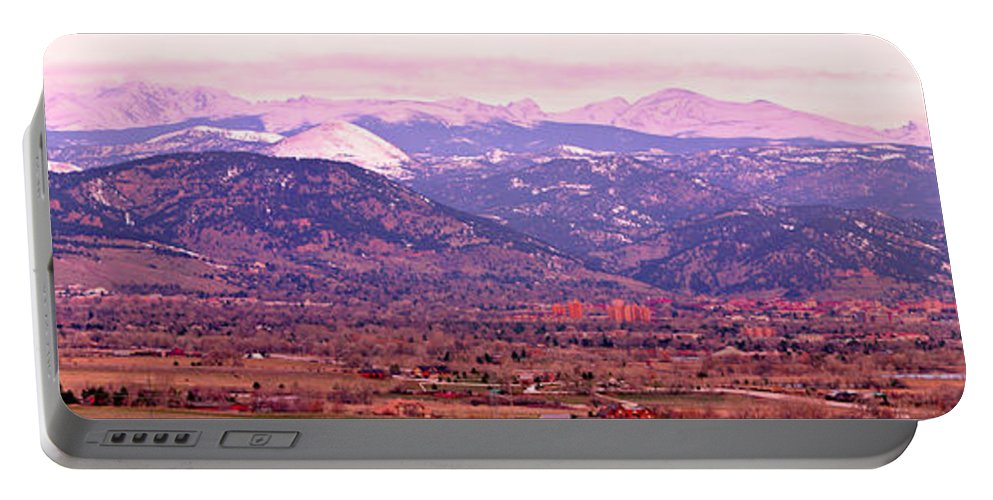 Boulder Portable Battery Charger featuring the photograph Boulder Colorado Sunrise Panorama by James BO Insogna