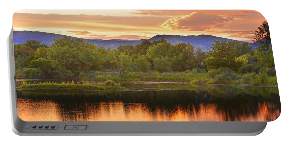 Sunsets Portable Battery Charger featuring the photograph Boulder County Lake Sunset Landscape 06.26.2010 by James BO Insogna