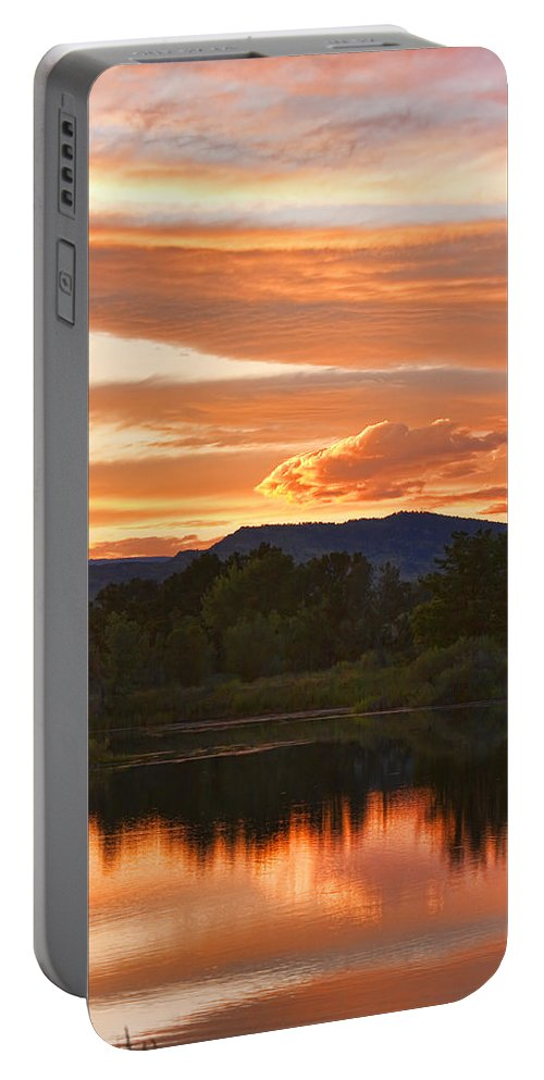 nature Photography Portable Battery Charger featuring the photograph Boulder County Lake Sunset Vertical Image 06.26.2010 by James BO Insogna