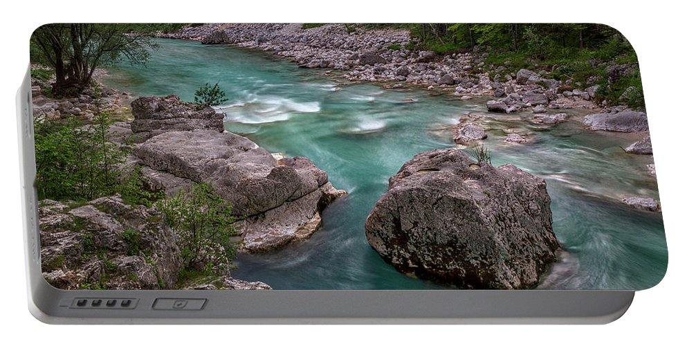Slovenia Portable Battery Charger featuring the photograph Boulder In The River - Slovenia by Stuart Litoff