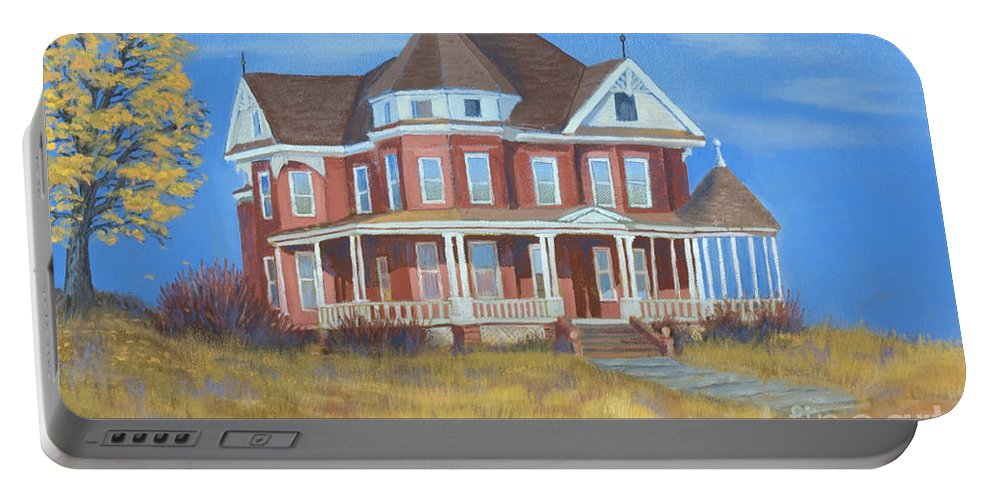 Boulder Portable Battery Charger featuring the painting Boulder Victorian by Jerry McElroy