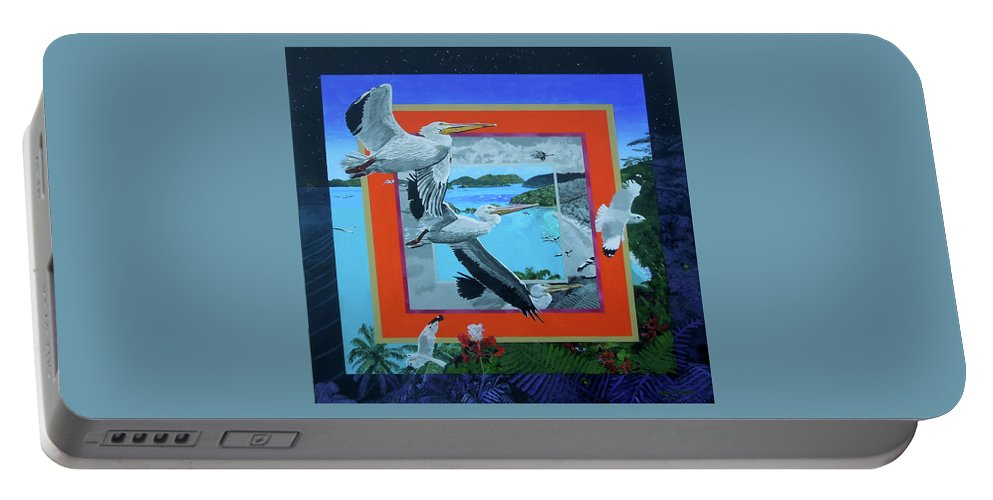 Pelicans Portable Battery Charger featuring the painting Boundary Series Xvii by Thomas Stead