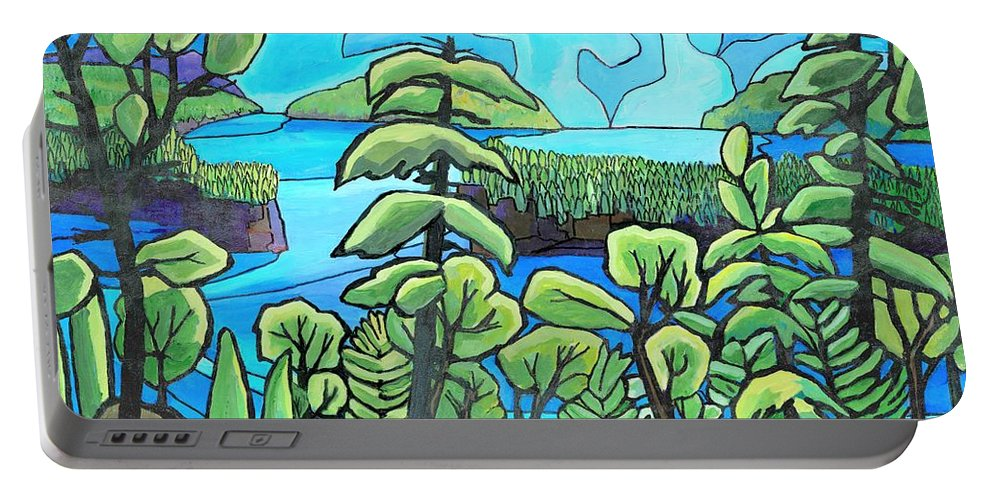 Water Portable Battery Charger featuring the painting Boundary Waters by James O'Connell