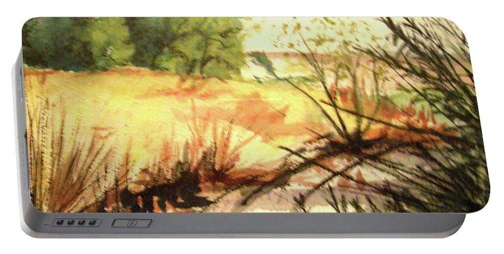 Landscape Portable Battery Charger featuring the painting Bouquet Canyon Wash 2 by Olga Kaczmar