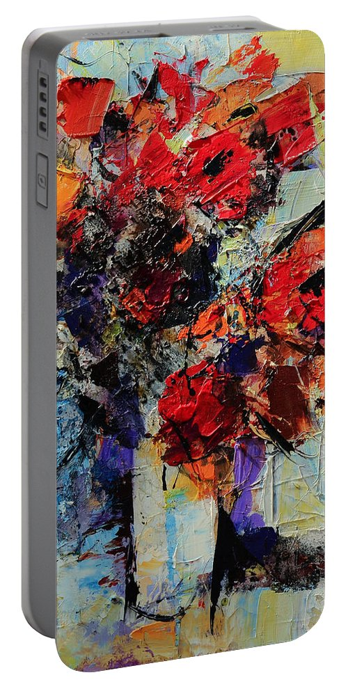 Flowers Portable Battery Charger featuring the painting Bouquet De Couleurs by Elise Palmigiani