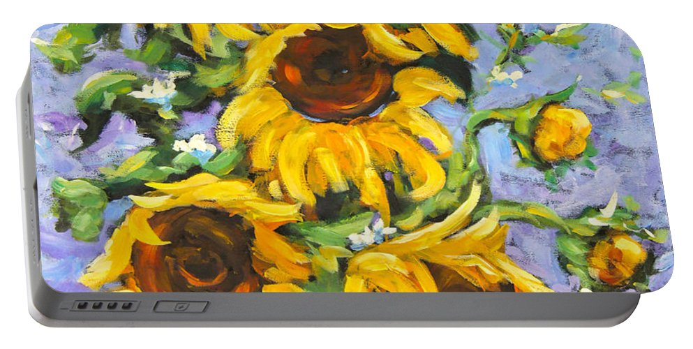 Nature Portable Battery Charger featuring the painting Bouquet Del Sol Sunflowers by Richard T Pranke