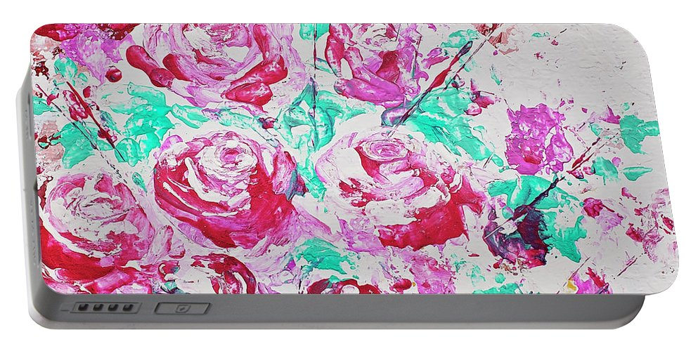 Flowers Portable Battery Charger featuring the painting Bouquet Of Pink Roses by Angelina Cornidez
