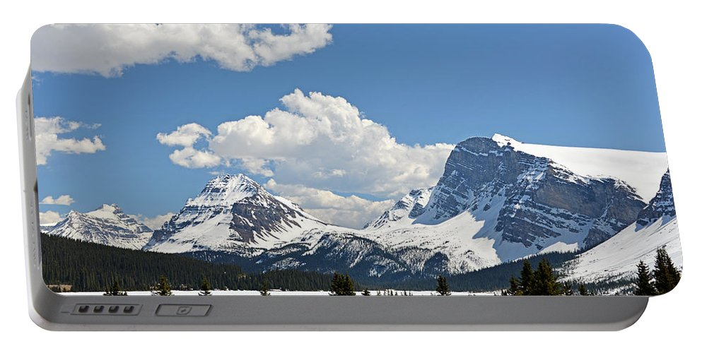 Bow Lake Portable Battery Charger featuring the photograph Bow Lake Vista by Ginny Barklow