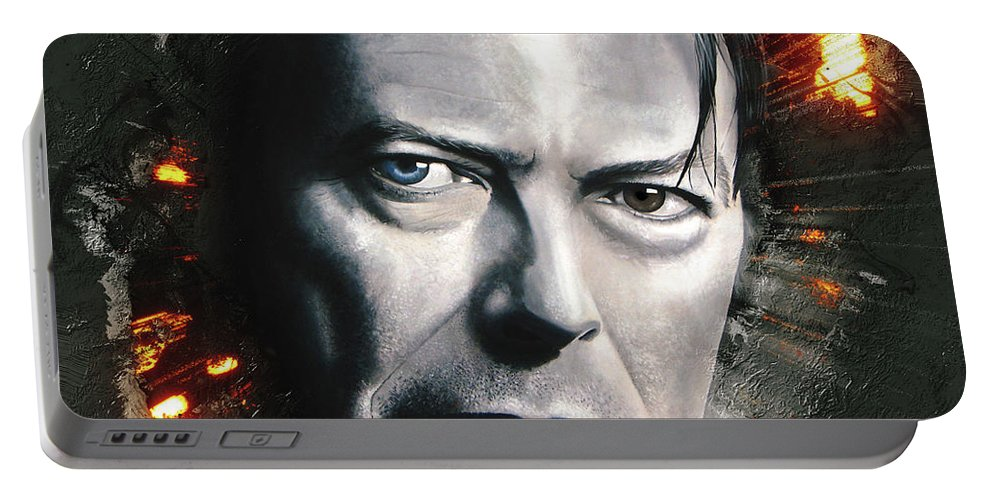 David Bowie Portable Battery Charger featuring the digital art Bowie by Shaun Poole