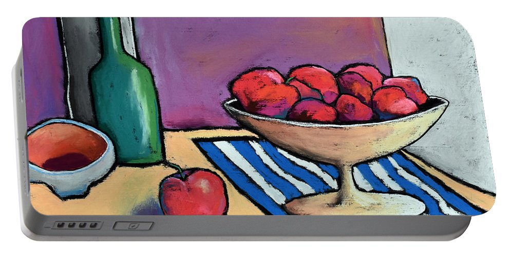 Apple Portable Battery Charger featuring the painting Bowl Of Apples by David Hinds