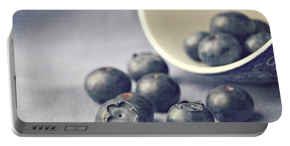 Blueberries Portable Battery Charger featuring the photograph Bowl Of Blueberries by Lyn Randle