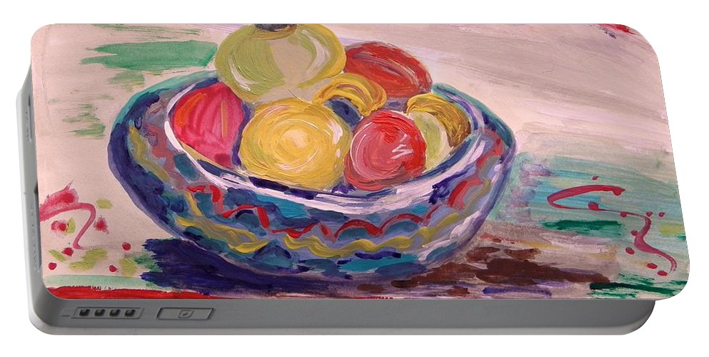 Fruit Portable Battery Charger featuring the painting Bowl On A Red Edge by Mary Carol Williams