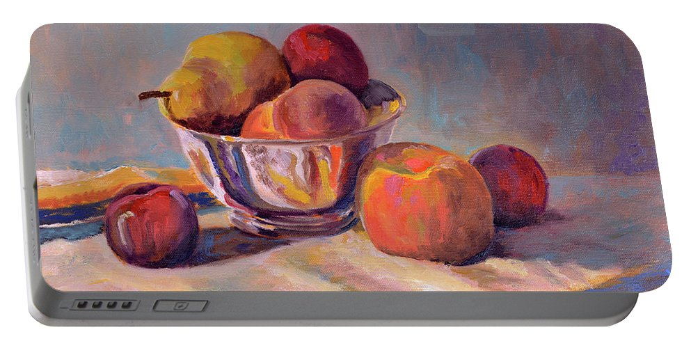 Still Portable Battery Charger featuring the painting Bowl With Fruit by Keith Burgess