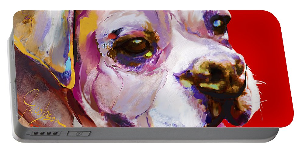 Boxer Portable Battery Charger featuring the painting Boxer Dog by Jackie Jacobson