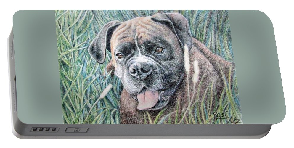 Dog Portable Battery Charger featuring the drawing Boxer Yosi by Nicole Zeug