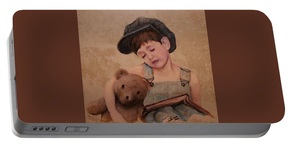 Portable Battery Charger featuring the painting Boy And Bear by Teresa Davis
