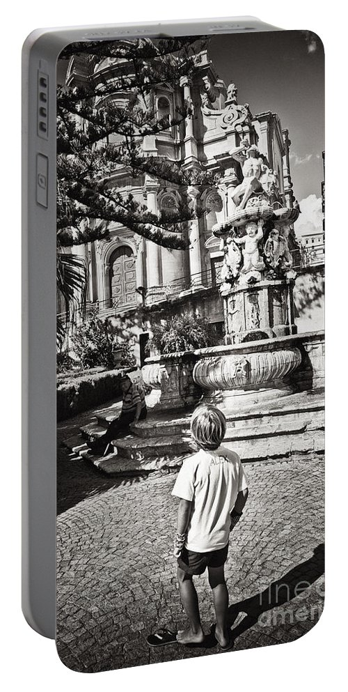 Boy Portable Battery Charger featuring the photograph Boy At Statue In Sicily by Madeline Ellis