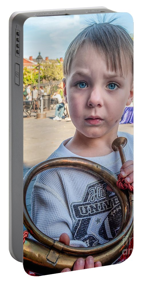 Boy Portable Battery Charger featuring the photograph Boy With A Horn _ Nola by Kathleen K Parker