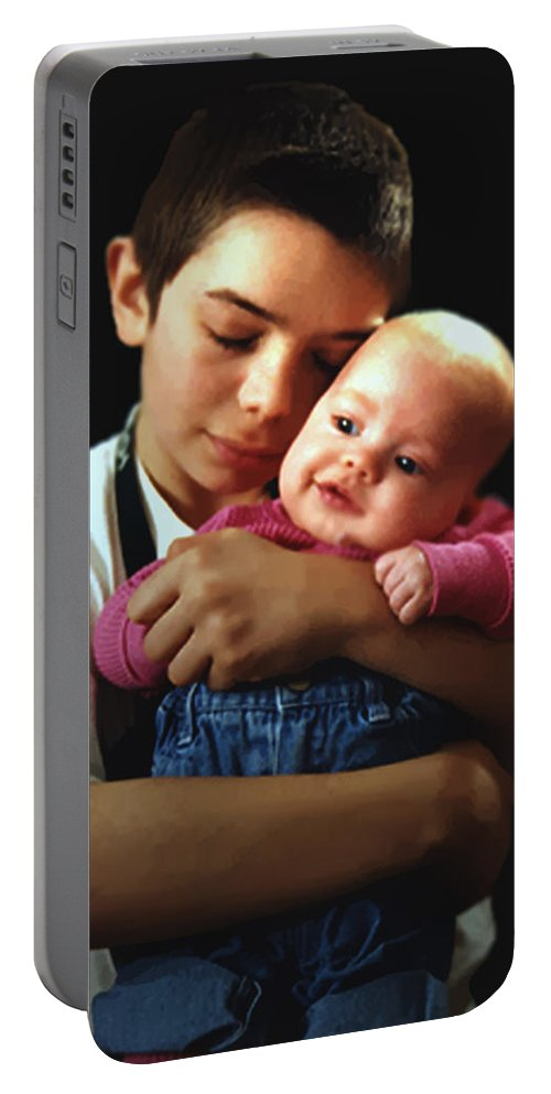 Children Portable Battery Charger featuring the photograph Boy With Bald-headed Baby by RC DeWinter