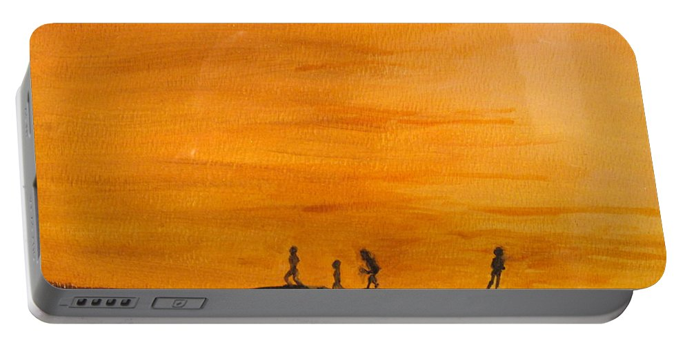 Boys Portable Battery Charger featuring the painting Boys At Sunset by Ian MacDonald