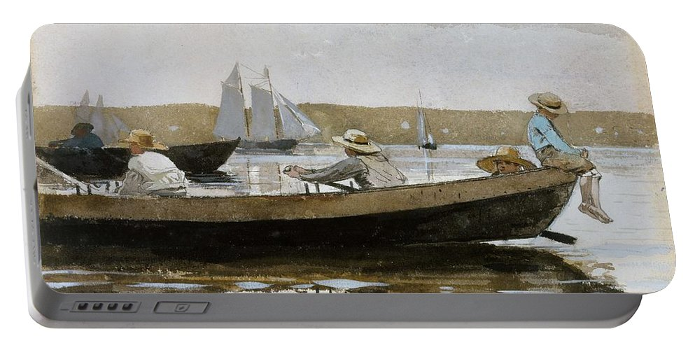 Nature Portable Battery Charger featuring the painting Boys In A Dory, By Winslow Homer, by Winslow Homer