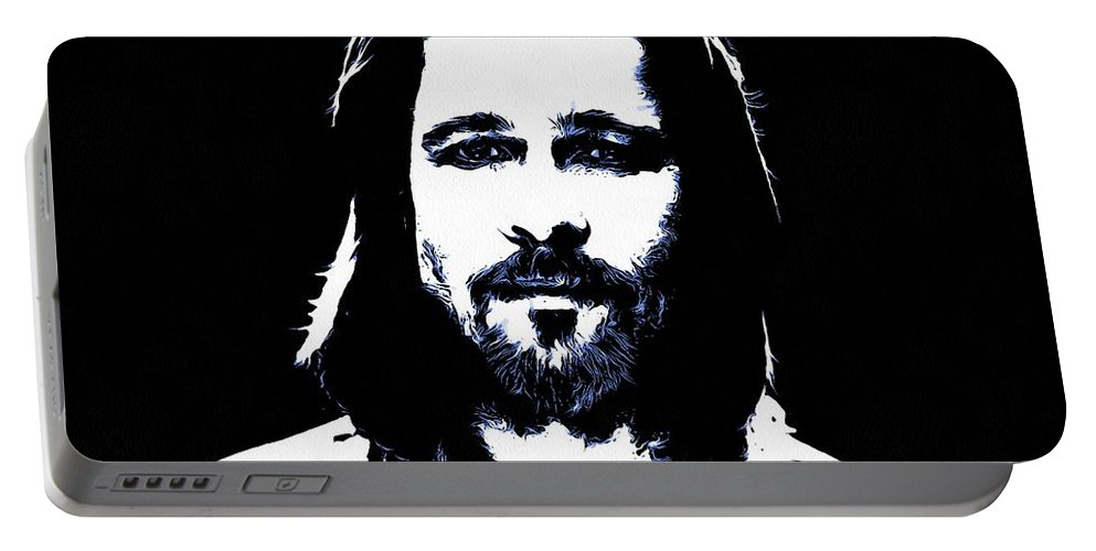 Brad Pitt Portable Battery Charger featuring the digital art Brad Pitt by Sergey Lukashin