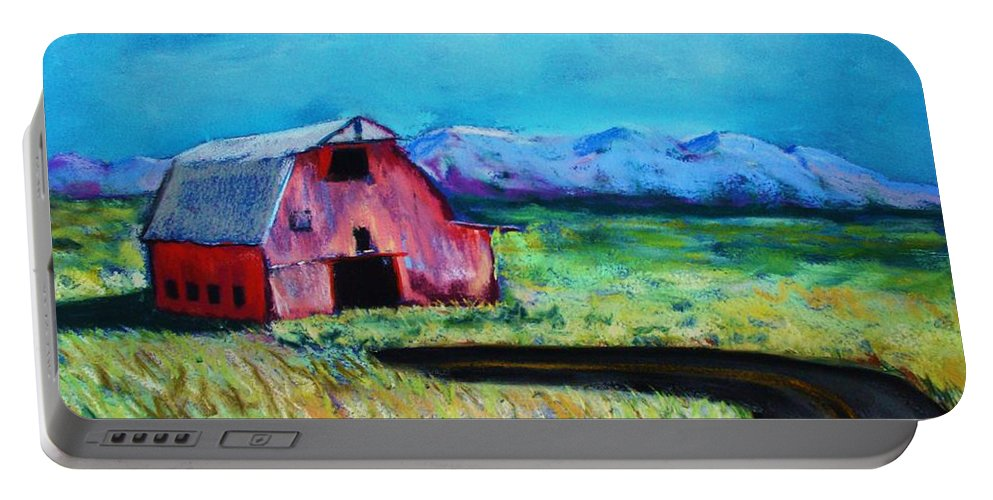Barn Portable Battery Charger featuring the pastel Bradley's barn by Melinda Etzold