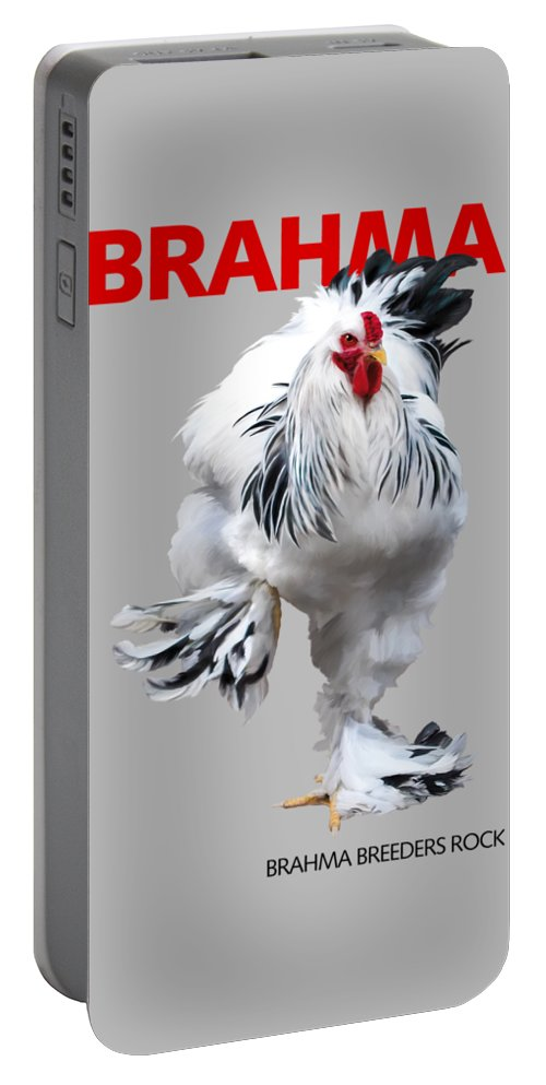 Brahma Portable Battery Charger featuring the digital art Brahma Breeders Rock Red by Sigrid Van Dort