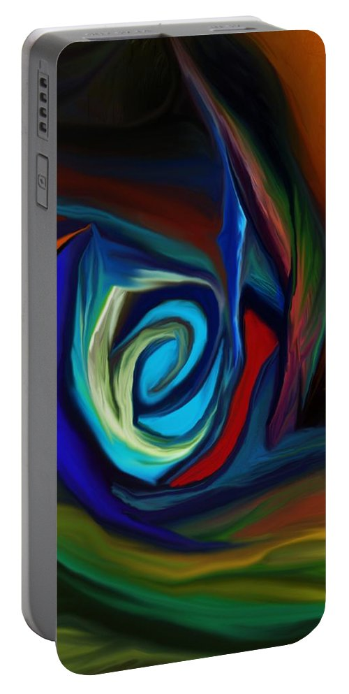 Fine Art.abstract Portable Battery Charger featuring the digital art Brain Storm by David Lane