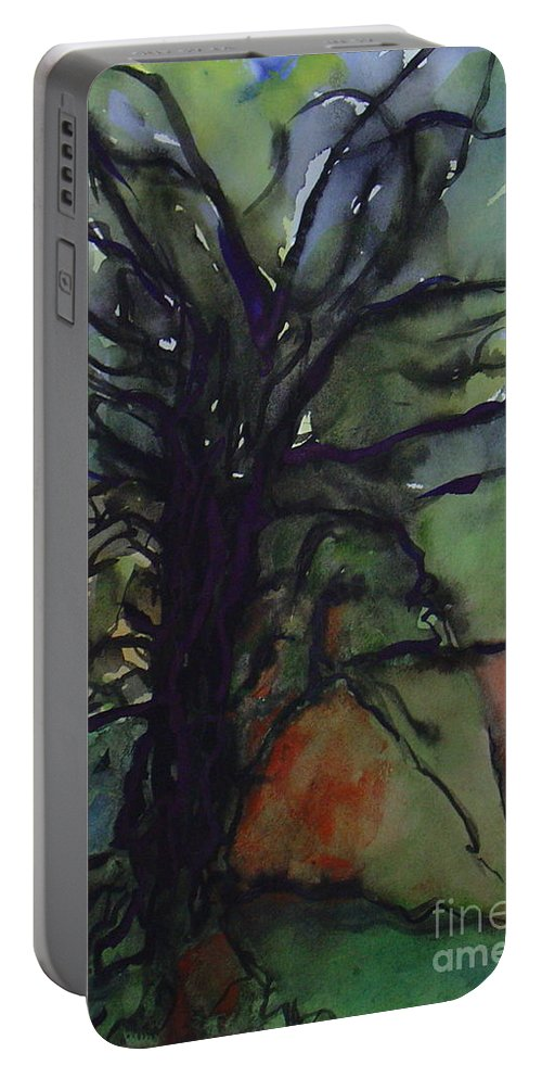 Tree Landscape Abstract Watercolor Original Blue Green Portable Battery Charger featuring the painting Branching by Leila Atkinson
