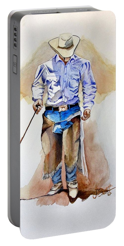 Western Portable Battery Charger featuring the painting Branding Blisters by Jimmy Smith