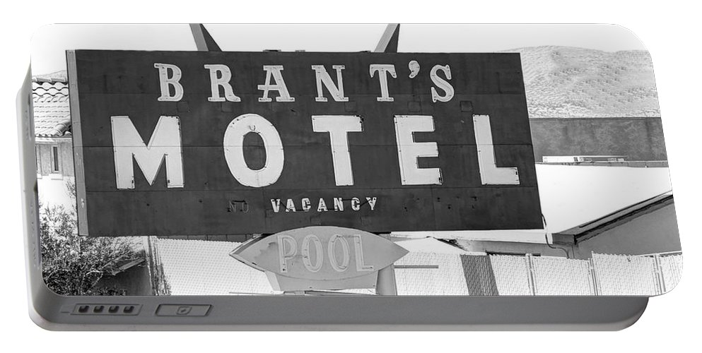 Sign Portable Battery Charger featuring the photograph Brants Motel Signage by Douglas Settle