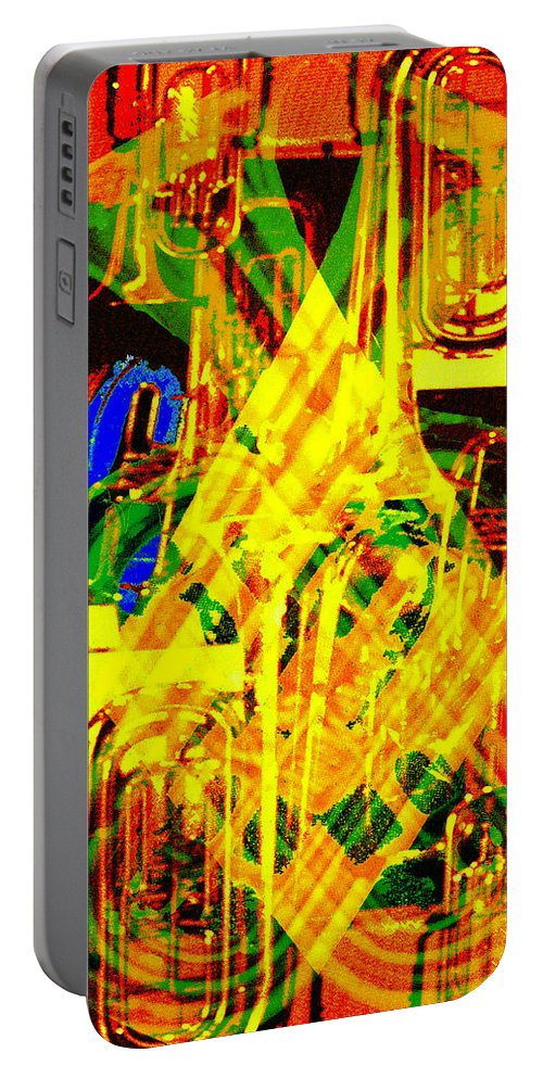 Festive Portable Battery Charger featuring the digital art Brass Attack by Seth Weaver