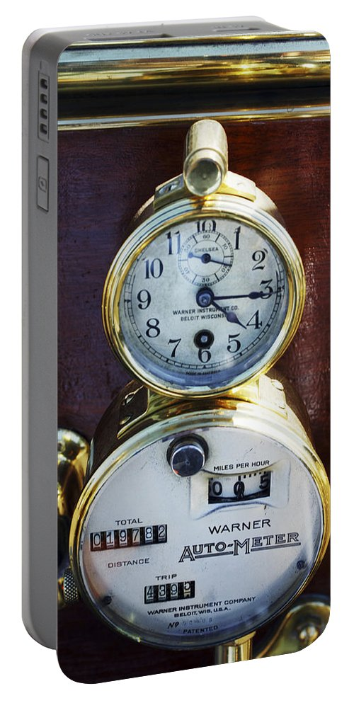1910 Pope Hartford T Portable Battery Charger featuring the photograph Brass Auto-meter Speedometer by Jill Reger