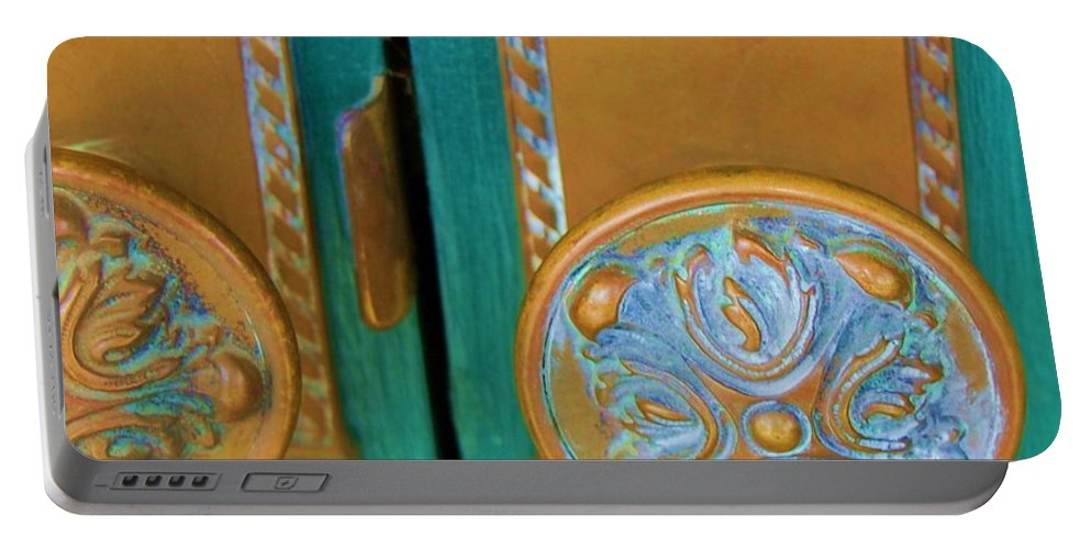 Door Portable Battery Charger featuring the photograph Brass Is Green by Debbi Granruth