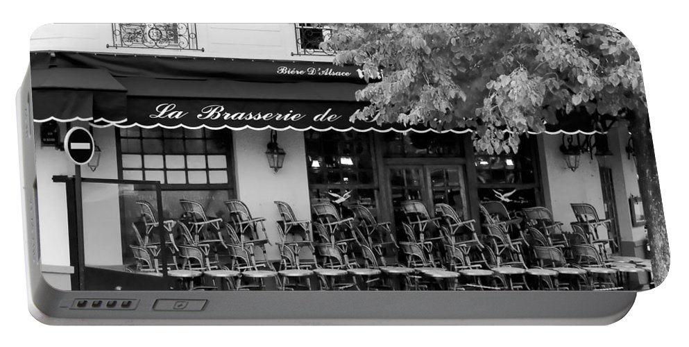Paris Portable Battery Charger featuring the photograph Brasserie Early Morning by Mick Burkey