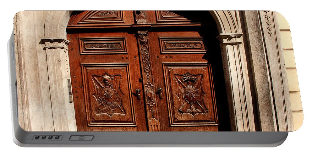 Doors Portable Battery Charger featuring the photograph Bratislava Doors by Thomas Marchessault