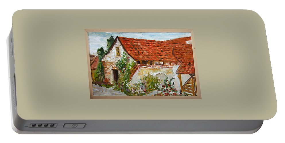 Landscape Portable Battery Charger featuring the painting Bratri Truhlari by Pablo de Choros