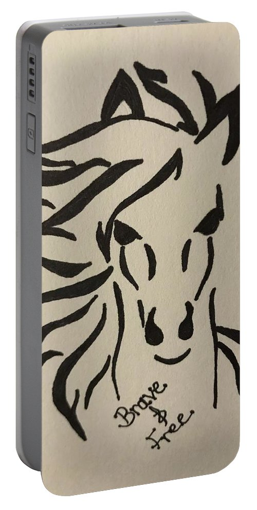 Brave And Free Wild Horse Portable Battery Charger featuring the drawing Brave And Free by Kholoud Androwis