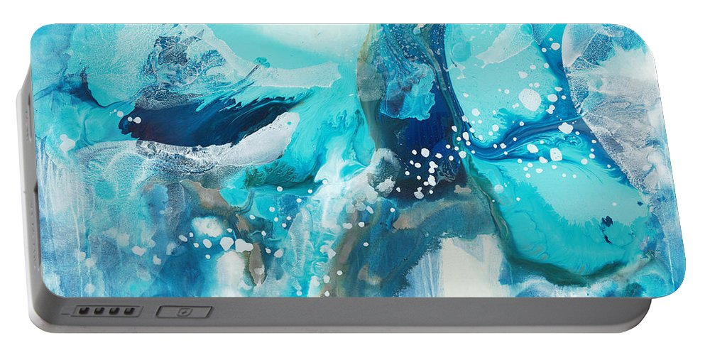 Abstract Portable Battery Charger featuring the painting Brave Depths by Claire Desjardins