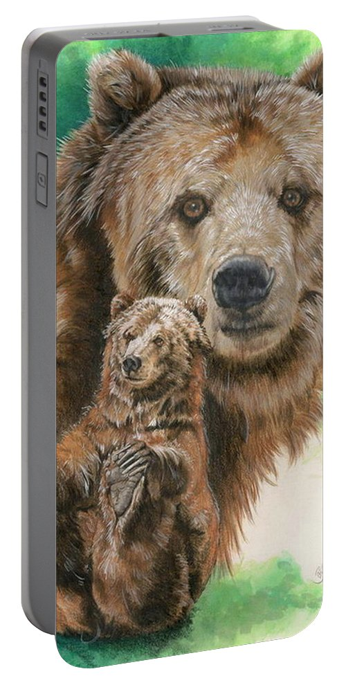 Bear Portable Battery Charger featuring the mixed media Brawny by Barbara Keith