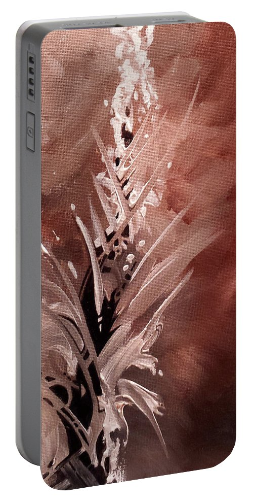 Abstract Earth Tones Breach Of Ethics Portable Battery Charger featuring the painting Breach Of Ethics by Beth Waltz