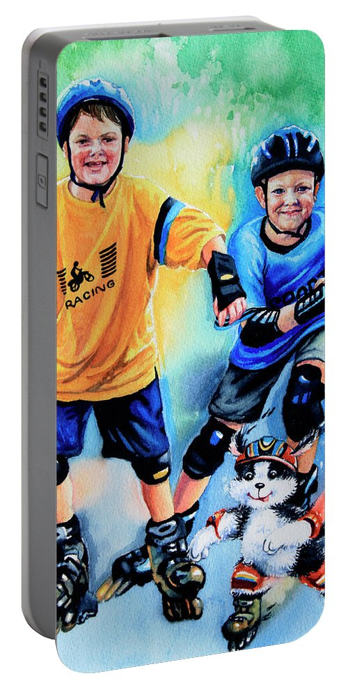 In-line Skating Portable Battery Charger featuring the painting Break Away by Hanne Lore Koehler
