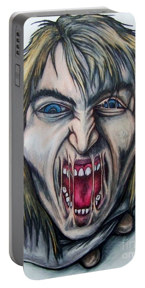 Tmad Portable Battery Charger featuring the drawing Break The Silence by Michael TMAD Finney